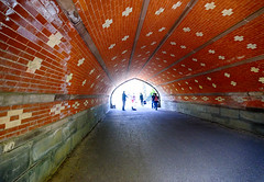 Musical Tunnel at Central Park in New York (` Toshio ') Tags: road street nyc newyorkcity people music usa newyork america patterns bricks tunnel violin sillhouettes toshio xe2 fujixe2