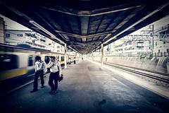 Close encounters of another kind (hidesax) Tags: station japan sony platform trains jr line passengers chiba sobu a7ii higashifunabashi hidesax sel1018 closeencountersofanotherkind