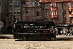 Edinburgh Necrobus (Derbyshire Harrier) Tags: street city summer people black tourism scotland edinburgh capital parliamentsquare railtour cobbles sets 2016 pathfindertours theghostbustours edinburghnecrobus