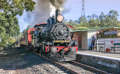 QPSR PB15 class number 448, smoke and steam departing Swanbank Station. July 2016 (Photos by Lance) Tags: railway railfans australianlocomotive geotagged queenslandrail train loco ipswichqueensland passengertrain smokeandsteam steamtrain steamlocomotive qr bundambatoswanbank photo queenslandaustralia heritagetrain tracks railroad station steamengine locomotive outdoor nice pb15classnumber448 queenslandpioneersteamrailway qpsr swanbankrailwaystation clerestorycoachaustralianstock queensland