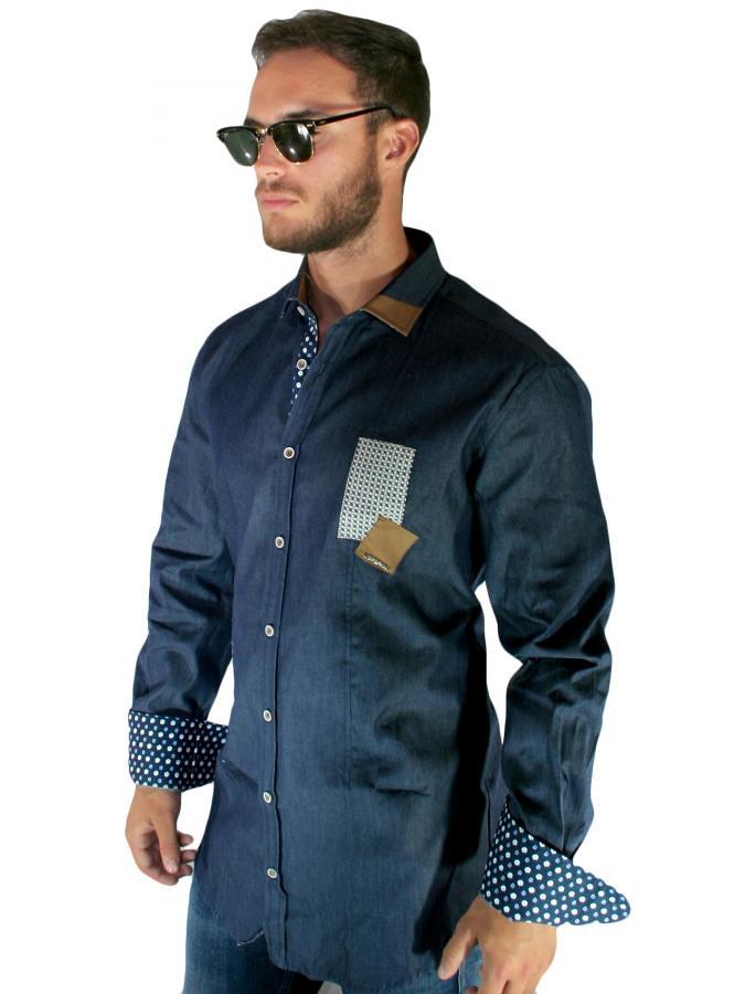 STEFAN Ανδρικό μακρύ τζιν slim fit ελαστικό fashion πουκάμισο  (toptenfashion gr) Tags  fashion slim 146d27d1fc2