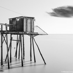 Carrelet Study 7 (Moises Levy L) Tags: longexposure sky bw cloud abstract france west blancoynegro water architecture coast blackwhite structures fishermens carrelet