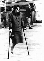 bw_08 fast crutcher (jackcast2015) Tags: handicapped disabled disabledwoman cripledwoman onelegwoman oneleggedwoman monopede amputee legamputee crutches