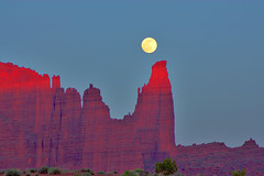 Fisher Towers (BLMUtah) Tags: red moon rock landscape utah scenery hiking towers full trail fisher moab blm bureauoflandmanagement
