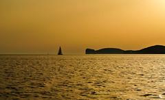 Golden lighting ... (Kat-i) Tags: sardegna italien sunset italy water wasser sardinia sonnenuntergang kati sardinien mediterraneansea segelboot katharina alghero sailingboat 2015 mittelmeer capocaccia nikon1v1