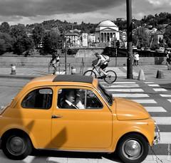 Fiat 500 in Torino - Italy (m.genca) Tags: old city blackandwhite bw italy fashion yellow vintage torino blackwhite reflex nikon europa europe italia fiat citylife style piemonte giallo 500 turin fiat500 d7000 piemount