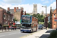 Stagecoach East Midlands Dennis Trident V382EWE (17682) on Broadgate, Lincoln, 24/06/2016 (Scatmancraig1974) Tags: v382ewe v382 ewe dennis trident alexander alx400 stagecoach grimsby cleethorpes transport gct 382 east midlands lincolnshire roadcar lincs road car lrcc 17682 double deck decker low floor slf bus broadgate lincoln cathedral craig schofield scatmancraig