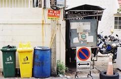 We Buy Your Car (35mm) (jcbkk1956) Tags: street signs analog 35mm thailand bangkok manual streetfurniture bins carlzeiss kodacolor200 thonglo contaxrts 45mmf28