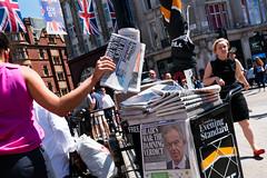 Woman Grabbing a Standard (stevedexteruk) Tags: chilcot report evening standard newspaper news iraq war 2016 london uk oxfordcircus oxfordstreet street westminster city union flag jack britain