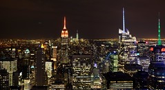 Top of the Rock (Empire State) (Ryan J. Nicholson) Tags: lighting city nyc newyorkcity longexposure urban usa building club night america buildings skyscrapers rockefellercentre topoftherock iamnikon