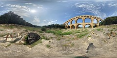 Pont du Gard (360º) (mister_hashtag) Tags: panorama france stone river google ancient roman maps 360 august du pont aquaduct degree gard 360º 2015 photosphere