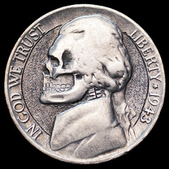 jefferson war nickel - skull #1 (Seth Basista Engraving) Tags: ohio macro love dead death skull carved seth coin nikon hand air lindsay engraving dollar half nickel token hobo kennedy sb engraved sculpted youngstown engrave graver austintown basista mahoning