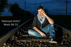 """Railroad chillin"" 08/52 (Mirkind) Tags: railroad blue man male night self canon eos shot jeans week protrait 52 selfie 1100d"