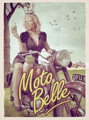 Moto Belle (paul bayfield photography) Tags: pink sexy classic girl vintage hair cherry war cigarette motorbike cupcake card spitfire pinup collector airbase bsa