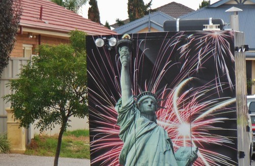 The Statue of Liberty on the Back of a Van in Seaton