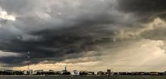 Liquid clouds (Brînzei) Tags: sky storm water clouds cosina m42 murky manualfocus stitched goldenhour ★ explored bucurești laculmorii canoneos400d outstandingromanianphotographers crângași vivitar28mmf28mcwideangle