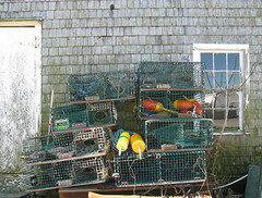 Buoys and traps behind the shack (Gwen 's) Tags: buoyant