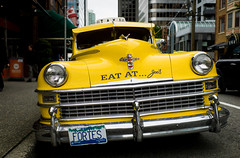 05-30-2013 (whlteXbread) Tags: 35mmf2 classiccar 2013 bc cab canada chrysler conference dailies icassp2013 m9 spring street summicron taxi travel vancouver yellow faceit365:date=20130530