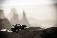 Flexing Mesa Arch (Chris Nitz Photography) Tags: blackandwhite bw monochrome toy utah jeep fineart iowa ia moab ames mesaarch digitalfineart chrisnitz chrisnitzphotography tonalrecession