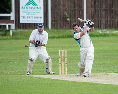 Hayden Preshaw on the Attack (Steve Barowik) Tags: century ball pull drive back nikon cut leeds swing pitch pace 100 hook fullframe fx 50 caught bowler seam glance maiden stumps bails forward spinner thirdman opener umpire 80400mm wicket wicketkeeper batsman lbw fielder d600 fineleg squarecut 1stxi ls26 nikond600 nikon80400mmf4556dafvr barowik oultoncc centralyorkshireleague stevebarowiksb abbrickwork