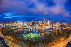 A fisheye view of the Pittsburgh skyline at night from Mt. Washington HDR (Dave DiCello) Tags: sunset sun moon clouds reflections dawn pittsburgh dusk bridges mtwashington northshore rivers hdr pncpark thepoint pittsburghskyline pointstatepark westendbridge westendoverlook steelcity robertoclementebridge pointstateparkfountain pittsburghphotographer nikond600 nikond700 fountainpittsburgh davedicello hdrexposed pittsburghfountain fountaininpittsburgh fountainatpointstatepark parkatthewestendoverlook fountaininpointstatepark pittsburghfountains