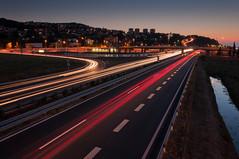 Semedela long exposure (Aljaž Vidmar   ADesign Studio) Tags: road city longexposure urban cars night lights nikon highway trails slovenia slovenija koper semedela d5000