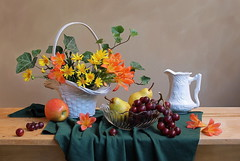 Pleasant Season (Esther Spektor - Thanks for 16+millions views..) Tags: flowers autumn red stilllife food orange brown white color reflection green art texture apple fruits leaves yellow composition canon stem beige october pattern basket availablelight teal burgundy cluster vine stilleben bowl fantasy pear imagination esther drape bouquet bud cloth pitcher arrangement grape tabletop bodegon naturemorte artisticphotography naturamorta naturezamorta coth creativephotography artdigital bej autumnseason artofimages exoticimage eshterspektor