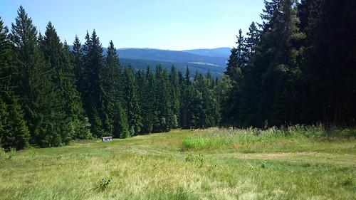 Ski slope cut into the mountain