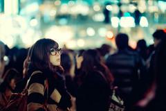 In The Sea Of Shibuya Lights (Jon Siegel) Tags: woman girl beautiful japan japanese tokyo glasses nikon f14 14 shibuya 85mm d700 nikkor85mmf14afd