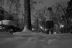 Chris in snow 3am Jan 3 2014 BW (karenchristine552) Tags: usa selfportrait snow philadelphia night still nikon nocturnal snowstorm streetlife lookingup pa blizzard westphilly universitycity selfie nocturnalphotography nikond80 nikonflickraward