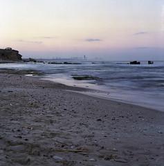 Hazy Jane II (Nadav Biran) Tags: morning 6x6 film beach sunrise mediumformat landscape israel view purple apocalypse squareformat hazy apocalyptic tlv colorfilm fujipro400h palmachim bronicasqa bronicazenzanonps50mmf35