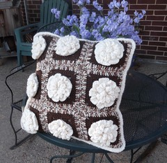 Cream Flowers Pillow (Pammy Sue1) Tags: flowers roses squares crochet pillow gift cushion