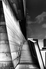 Stairs (Markus T. Berger  www.mtberger-photography.com) Tags: vienna wien blackandwhite bw building architecture austria blackwhite stair university staircase architektur wu wuwien viennauniversityofeconomicsandbusiness skyfreezer