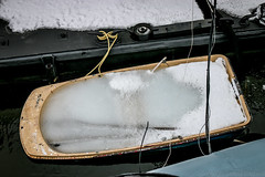 No Boating Today (Harpo42) Tags: winter snow cold history ice philadelphia yellow boat frozen dock stuck exhibit pa filled rowboat philly february pennslanding oars phila independenceseaportmuseum