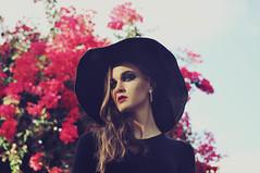 (Kira M Photography) Tags: flowers light portrait sky sun hat photography model shadows skin shooting buganville