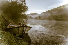 Smoke on the water (maria_alexandrowa) Tags: trees mist sunrise flickr monmouth riverwye rowingboat redbrook
