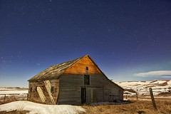 Old Barn starry night (formerly #1 most interesting now #3) (John Andersen (JPAndersen images)) Tags: longexposure blue winter sky snow canada green calgary abandoned nature landscape alberta aurora starrynight oldbarn canon6d jpandersenimages