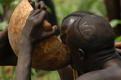 Drinking together tradition. Surma (vgundarev) Tags: africa expedition tribes ethiopia
