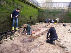 Recording underway on the riverside wall (Thames Discovery Programme) Tags: london archaeology thames river community greenwichpalace fgw04 thamesdiscoveryprogramme