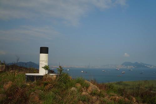 竹篙灣咀的導線控制點和香港島