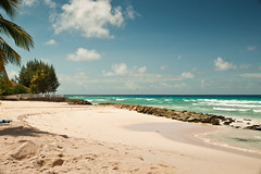 Beautiful Barbadian Beach (Barry Haynes) Tags: blue sky water rock clouds swimming sand warm sandy tropical caribbean relaxation tropics wading westindies