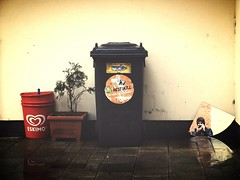 Hidden Selfie (C_MC_FL) Tags: vienna wien street plant wet rain wall vintage person photography austria mirror sterreich fotografie wand spiegel pflanze fujifilm trashcan mlleimer regen dustbin selfie x10 nass softtones restmll strase mistkbel