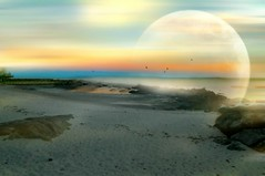 Fades to Dusk (floralgal) Tags: sunset moon seascape beach landscape dusk dreams dreamy dramaticsky longislandsound ryenewyork creativelandscape newyorklandscape