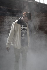 'The Fog' i. (miranda.valenti12) Tags: portrait mist building brick abandoned misty fog hair factory smoke x warehouse jacket dreads surrounded stussy xzavier