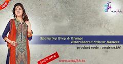 Sparkling Grey & Orange Embroidered Salwar Kameez (amafhhshopping) Tags: fashion shopping clothing style salwarkameez onlineshopping ethnicwear womenwear