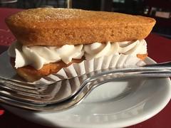 Vegan twinkie at Timeless (artnoose) Tags: cake dessert oakland baking vegan cafe coffeeshop twinkie forks timeless frosting filling baked