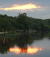 Evening from the Fox (Mark Herrera) Tags: trees sunset clouds reflections illinois spring cloudy rivers foxriver waterreflections eastdundee illinoisrivers