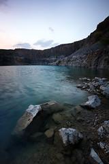 The Quarry Pool (aveyardphotography) Tags: blue light lake water pool rock stone evening chalk pond mine limestone quarry skipton threshfield