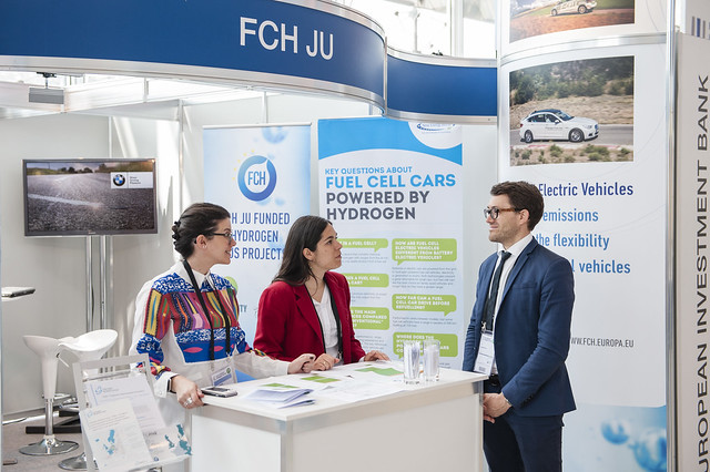 Lionel Boillot at the Fuel Cells and Hydrogen joint Undertaking stand