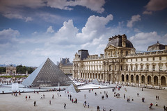Louvre (Elysian-Photography) Tags: street people paris france monument glass wheel seine museum architecture clouds buildings europe pyramid monalisa bluesky urbanlandscape museedulouvre louvrepalace